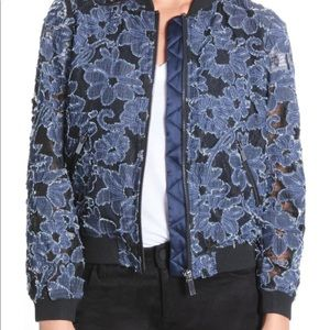 Floral chambray bomber